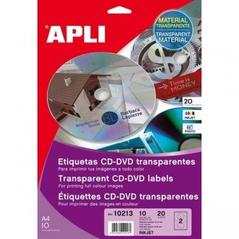 ETIQUETA CD-DVD TRANSP. INK JET 20U