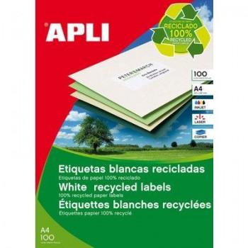 ETIQUETA  LASER BLANCA RECICLADAS 210X297 APLI