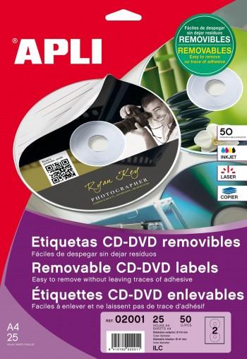ETIQUETA CD-DVD REMOVIB.INKJET 50 U