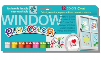 TEMPERA  SOLIDA PLAYCOLOR ONE WINDOW 12 UNIDADES