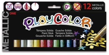 TEMPERA  SOLIDA PLAYCOLOR ONE METALLIC 12 UDS