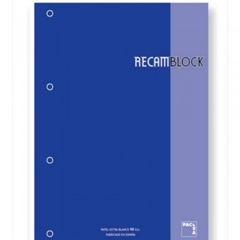 RECAMBIO PACSA A4 CUA.5X5 80 H. AZU