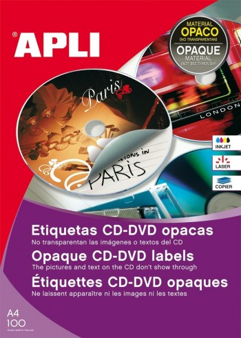ETIQUETA CD-DVD OPACA INKJET 200 UD