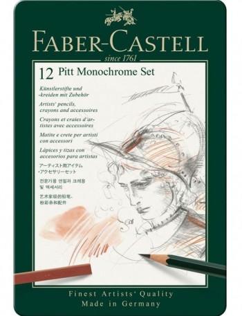ESTUCHE PITT MONOCHOME 12 PIEZAS FABER-CASTELL