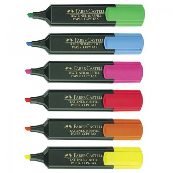 SET 6 COLORES ROTULADORES FLUORESCENTES FABER-CASTELL