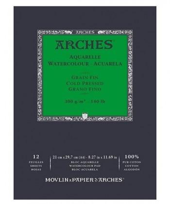 BLOCK ACUARELA A4 ARCHES 300gr GRANO FINO Y GRUESO