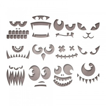 SET 12 TROQUELES THINLITS FRIGHLENING FACES BY TIM HOLTZ