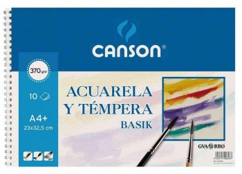 BLOCK DIBUJO ACUARELA A4+ 23X32.5mm 370gr CANSON BASIK