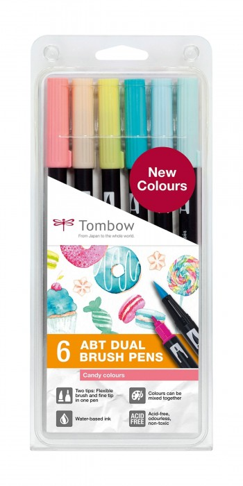 SET ABT DUAL BRUSH TOMBOW 6 COL. CANDY