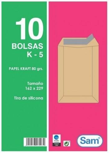 SOBRE BOLSA K-5 162X229 PACK 10 SAM